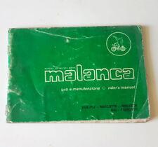 Libretto Manuale uso e manutenzione MALANCA USATO ORIGINALE D'EPOCA Handbook