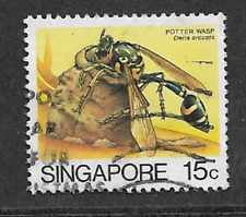 SINGAPORE POSTAL ISSUE - 1985 - USED DEFINITIVE STAMP - INSECTS POTTER WASP
