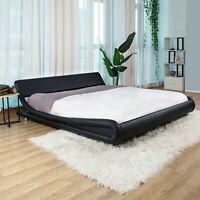 King/Queen/Full PU Leather Platform Bed Frame Upholstered Headboard & Wood Slats