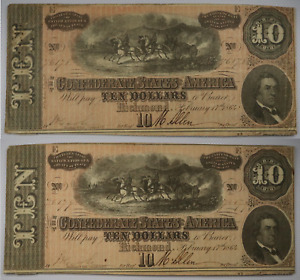 (2) 1864 $10 Confederate States of America Richmond Ten Dollar Consecutive Notes