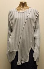 TRANSPARENTE EURO PLUS RIBBED COTTON POCKET PULLOVER SWEATER SILVER O/S 16 $300