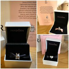 100% Genuine PANDORA 20th Anniversary Charms Frog, Bee, Heart & Certificates x3!