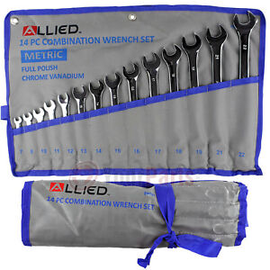 14 Piece Metric Combination Wrench Set 7mm to 22mm with Roll up Storage Pouch