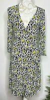 Diane Von Furstenburg Designer Wrap Dress Classic Black White Green Size 10 #F-1