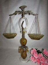 VTG SCALES OF JUSTICE AMBER GLASS SCALES CONVERTED TO LAMP MARBLE BASE & PRISMS