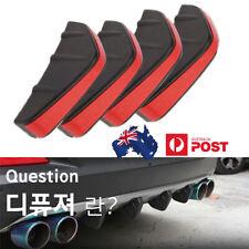 4x Rear Bumper Diffuser Fin Lip Wing Splitter For Car SUV Universal Black & Red