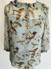 Phase Eight Mint Green Floral Blouse Birds Print Button Down Chiffon Top Size 10