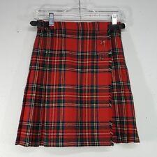 James Dalgliesh Kilt & Pin Girls Size 10 100% Pure New Wool Red Plaid England