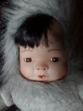"VINT 1995 ESKIMO PORCELAIN DOLL 13 "" LITTLE SNOW FLOWER SILVER GREY FAUX FUR FTD"