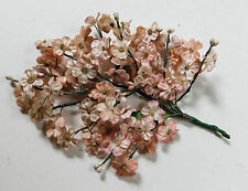 """Vintage Pink Velvet Fabric Flower Millinery Sprig 7/8"""" Dolls Crafts"""