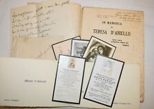 Aversa 1921 Elogio Funebre Morte Prematura di TERESA D'ANIELLO Santini Dedica
