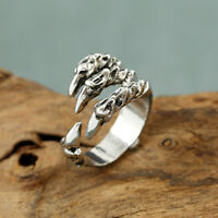 1X New Punk Rock Mens Biker Alloy Rings Vintage Gothic Jewelry Dragon Claw Ring