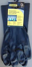 """STANLEY 12"""" PVC Coated Cotton Lined Chemical Resistant Gloves Size Large Black"""
