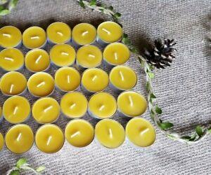 Tea Light Candles Set of 25 Pcs 100% Natural Beeswax Homemade Candles Pure Wax