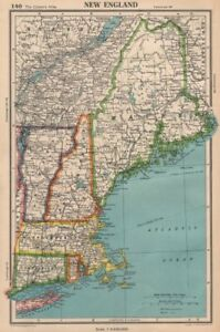 NEW ENGLAND. Connecticut Massachusetts Vermont NH Maine RI. BARTHOLOMEW 1944 map