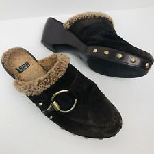Stuart Weitzman Womens Brown Suede Shearling Lined Clog Mule Sz 7.5 Studded