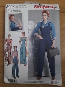 Simplicity 8447  Misses Vintage Pants Overall And Blouse Pattern Size US 6-14...