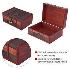 Wooden Vintage Lock Treasure Chest Jewelery Storage Box Case Organiser Ring BT