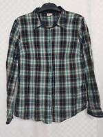 Ladies ESPRIT Buttoned Shirt Top Size 14 Green Plaid Gingham Cotton Long Sleeve