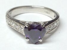 Heart Amethyst and Diamonds  ring 18ct white  gold