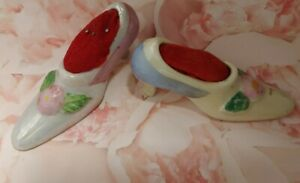 Tiny 2 Vintage PinCushion Shoes with Velvet Pincushions