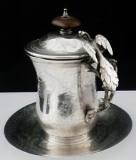 Middle Eastern Silver Lidded Coffee Mug with Saucer, Peacock, Possibly Armenian
