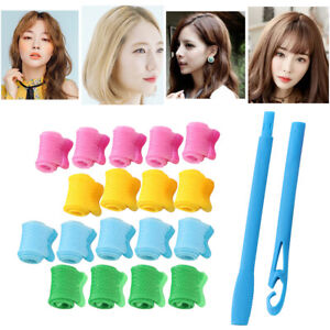 18pc Magic Hair Curlers Spiral Ringlet Curly Rollers Styling Set + Styling Tool