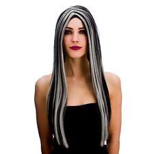 NEGRO PLATA Peluca Bewitched BRUJAS Largo Disfraz de Halloween