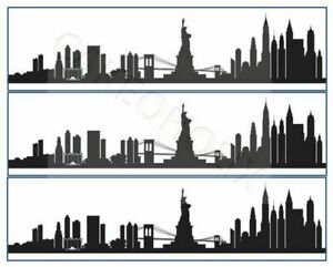 New York City Silhouette Skyline Edible Cake Side Strips Ribbon Icing Paper NYC