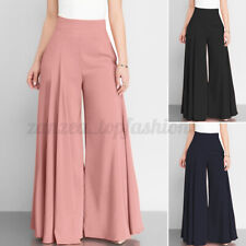 Women Palazzo Flared Wide Legs Pants High Waist Office Work Long Cotton Trousers