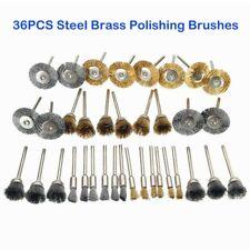 36 Wire Steel Brass Brushes Polishing Brush Wheels Set for Dremel Rotary Tool DE