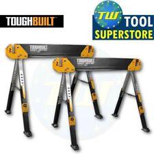 2x ToughBuilt TOU-C650 C650 Adjustable Leg Folding Saw Horse Trestle Twin Pack