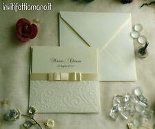 partecipazioni nozze inviti matrimonio tema fiocco con tasca