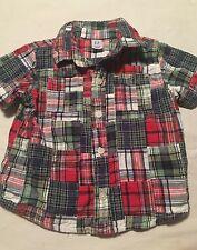 Baby Gap Boys Short Sleeve Button Up Shirt Size 6-12 Months Madra Patchwork