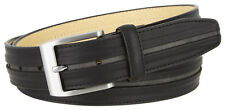 """Nickel Brush Buckle One Middle Line Genuine Leather Belt 1 3/8"""" Wide"""
