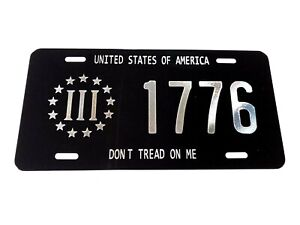 DON'T TREAD ON ME 1776 Car Tag Diamond Etched on Aluminum License Plate