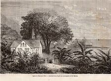 GRAVURE 1865 ENGRAVING GUYANE FRENCH GUIANA EGLISE DE LILET DE LA MERE CHURCH