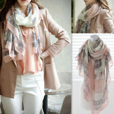 FT- Women's Comfortable Voile Sheer Soft Long Scarf Eiffel Tower Printed Candy