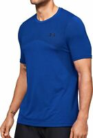 Under Armour Seamless Short Sleeve Mens Training Top Blue Gym Workout T-Shirt UA