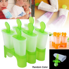 6 Freezer Ice Pop Maker Mold Popsicle Yogurt Ice Cream Frozen Pops Cake Treat XD