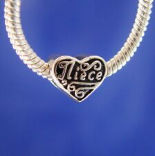 Niece Love You Family Heart Aunt Silver European Charm Bead fit for bracelet