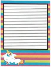 Girl's Camp Multi Colored Unicorn Lined Stationery Paper 26 Sheets
