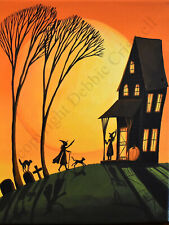 Dollhouse Halloween art VISITING WITCHES black cat hat signed print miniature DC