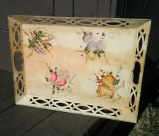 Antique Metal Tole Tray Hand Painted Fruits