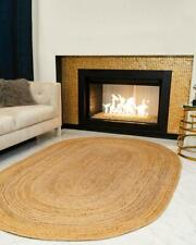 Rug Handmade Reversible Oriental Vintage Jute 3x5 Feet Oval Shaped Floor Mats
