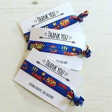 Superhero Hair Ties Wristbands Party Bag Filler Favour - Pow Bang Zap Bam
