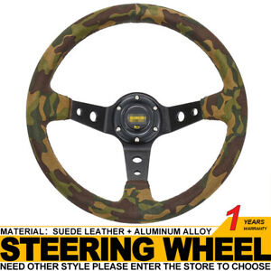 Universal 350mm/14in Camouflage Suede Leather Deep Dish Racing Steering Wheel