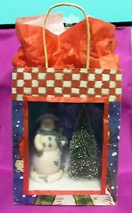Dollhouse Miniature Snowman Scenario Roombox in a Gift Bag
