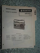 New listing Sanyo m6400 m-6400 service manual original repair stereo tape radio boombox