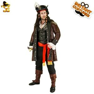 Adult Mens Luxury Pirate Costume Halloween Cool Pirate Cosplay Dress Up Costumes